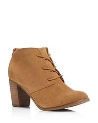 Toms Lunata Lace Up High Heel Booties Wheat
