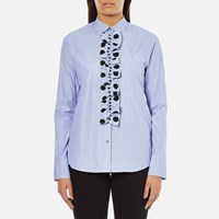Paul Smith Ps By Women's Ruffle Front Shirt Blue