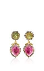 Amrapali 18K Gold Intricately Carved Green And Watermelon Tourmaline With Diamonds Earrings Multi