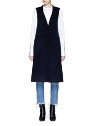 Mo And Co. Edition 10 Felted Wool Blend Long Vest Blue