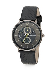 English Laundry Stainless Steel Interchangeable Perforated Leather And Striped Strap Watch Gunmetal