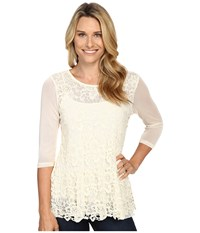 Scully Cambria Lace And Sheer Top Ivory Women's Clothing White