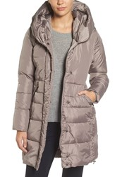 French Connection Women's Quilted Coat With Hood Taupe