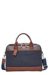 Men's Fossil 'Wyatt' Canvas Work Bag Blue Navy