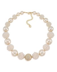 Carolee Simulated Pearl Beaded Collar Necklace White