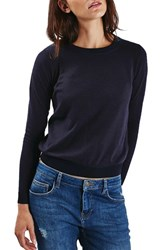 Topshop Women's Ribbed Trim Sweater Navy Blue