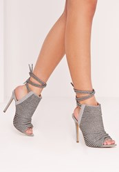 Missguided Rope Detail Peep Toe Ankle Boots Grey Green