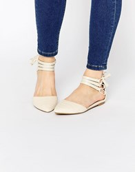 New Look Lace Up Pointed Flat Beige