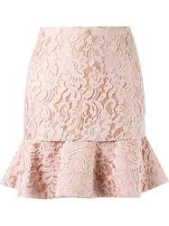 Martha Medeiros High Waist Lace Skirt Pink And Purple