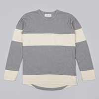 Universal Works Stripe Pocket L S Tee Grey Marl