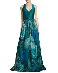 Theia Sleeveless T Back Floral Print Gown Peacock