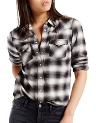 Levi's Modern Western Cotton Plaid Shirt Black