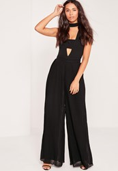 Missguided Pleated Wide Leg Trouser Black Black