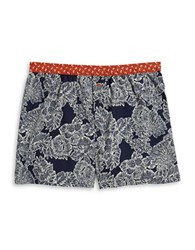 Tommy Bahama Cotton Tropical Floral Print Boxers Navy