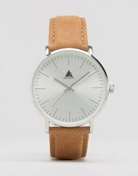 Asos Watch With Leather Strap In Light Tan Tan Brown