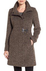 Via Spiga Women's Tweed Funnel Neck Coat