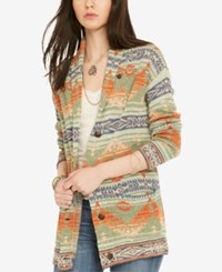 Denim And Supply Ralph Lauren Shawl Boyfriend Sweater Green Multi