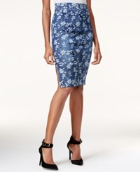 Guess High Waist Floral Print Denim Skirt Indigo