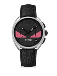 Fendi Momento Bug Black Stainless Steel And Leather Strap Watch Black Pink