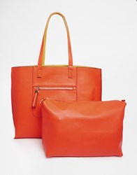 Oasis Renee Reversible Shopper Bag Orange Ochre Multi