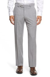 Men's Big And Tall Ballin Flat Front Solid Wool Trousers Pearl Grey
