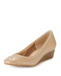 Cole Haan Elsie Cap Toe Leather Wedge Pump Maple Sugar