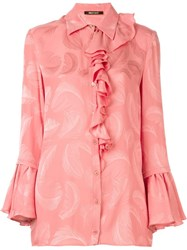 Roberto Cavalli Jacquard Feather Shirt Pink And Purple