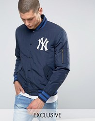 Majestic Yankees Bomber Jacket Exclusive To Asos Navy