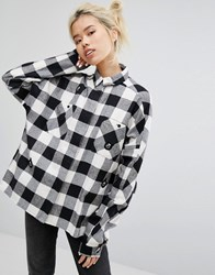 Lazy Oaf Mono Boxy Checked Shirt With All Over Bears Black White