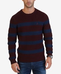 Nautica Men's Breton Striped Crew Neck Sweater Shipwreck Burgundy