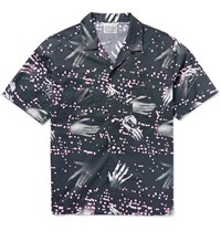 Cav Empt Camp Collar Printed Cotton Shirt Black