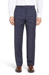 Zanella Men's Flat Front Plaid Wool Trousers Medium Blue