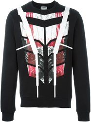 Les Hommes Geometric Pattern Sweater Black