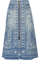 Sea Printed Denim Midi Skirt