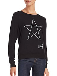 Wildfox Couture Scoopneck Long Sleeve Pullover Jet Black