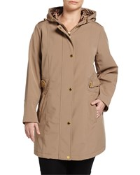 Via Spiga Plus Quilted Inset Hooded Trenchcoat Camel