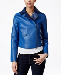 Armani Exchange Faux Leather Moto Jacket Blue