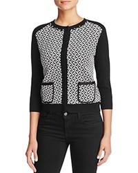 Finity Jacquard Sweater Jacket Black White