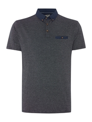Linea Sterling Woven Collar And Pocket Jacquard Polo Navy