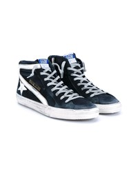 Golden Goose Distressed Suede And Leather Sneakers Navy White Golden