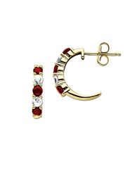 Lord And Taylor Ruby And Sapphire 14K Gold Hoop Earrings Ruby Gold