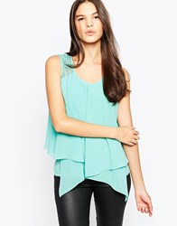 Ax Paris Double Layer Vest With Crochet Trim Aqua Blue