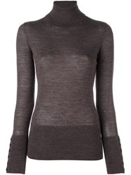 Steffen Schraut Ribbed Turtleneck Fine Knit Jumper Brown