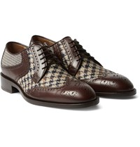 Etro Leather Panelled Checked Canvas Brogues Brown