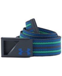 Under Armour Men's Range Webbing Striped Belt Steel Green Blue