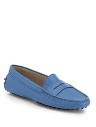 Tod's Gommini Leather Driver Moccasins Sky Blue