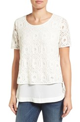 Pleione Women's Double Layer Short Sleeve Lace Top Ivory