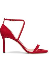 Jimmy Choo Hesper Suede Sandals Red