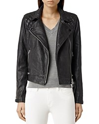 Allsaints Conroy Quilted Leather Biker Jacket Ink