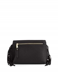 French Connection Bowie Suede Fringe Clutch Bag Black